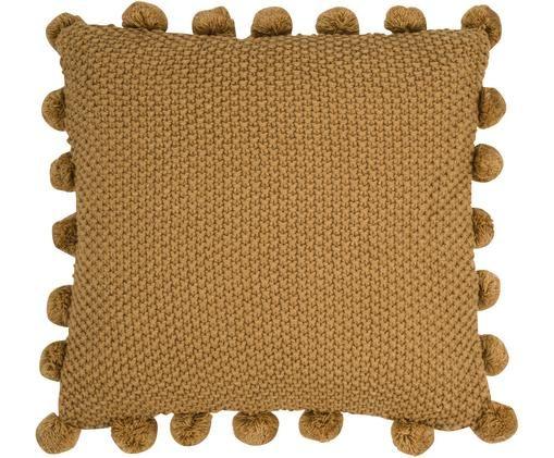 Cuscino in cucitura a maglia Bolme, con imbottitura, Rivestimento: acrilico, Giallo senape, Larg. 45 x Lung. 45 cm
