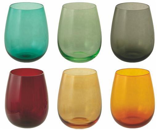 Bauchige Wassergläser Happy Hour in Bunt, 6er-Set, Glas, mundgeblasen, Mehrfarbig, Ø 9 x H 11 cm