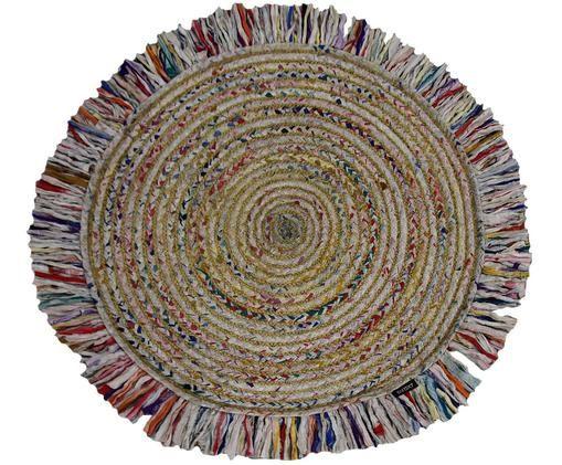Okrągły dywan z juty Roberta, Mieszanka bawełny, Wielobarwny, Ø 120 cm