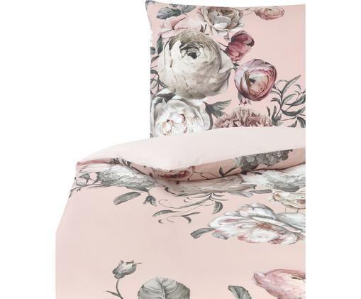 Baumwollsatin-Bettwäsche Blossom mit Blumenprint, Webart: Satin, Mehrfarbig, Rosa, 135 x 200 cm