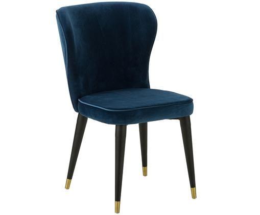 Chaise en velours rembourrée Cleo, Revêtement: bleu marine Pieds: noir, couleur dorée