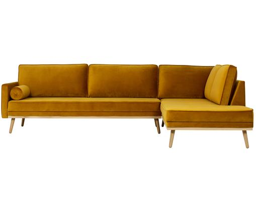Divano con chaise-longue in velluto Saint (4 posti), Rivestimento: velluto (poliestere) 35.0, Struttura: legno di pino massiccio, , Giallo ocra, Larg. 294 x Alt. 70 cm