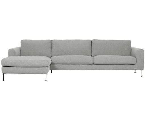 Ecksofa Cucita (4-Sitzer), Bezug: Webstoff (Polyester) 45.0, Gestell: Massives Kiefernholz, Füße: Metall, lackiert, Hellgrau, B 302 x T 163 cm
