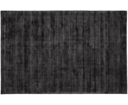 Tappeto in viscosa tessuto a mano Jane, Vello: 100% viscosa, Retro: 100% cotone, Nero antracite, Larg. 120 x Lung. 180 cm