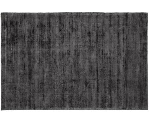 Tappeto in viscosa tessuto a mano Jane, Vello: 100% viscosa, Retro: 100% cotone, Nero antracite, Larg. 120 x Lung. 180 cm