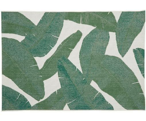 Tapis intérieur-extérieur imprimé feuilles Jungle, Blanc crème, vert