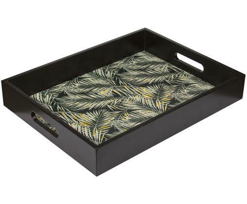 Plateau en bois noir avec imprimés vert et doré Laguna, Noir, beige, couleur dorée
