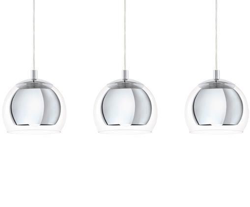 Pendelleuchte Rocamar aus Glas, Lampenschirm: Glas, Baldachin: Stahl, verchromt, Chrom, Transparent, 78 x 20 cm
