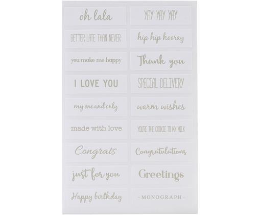 Sticker-Set Quotes, 108-tlg., Papier, Weiß, Salbeigrün, 10 x 15 cm