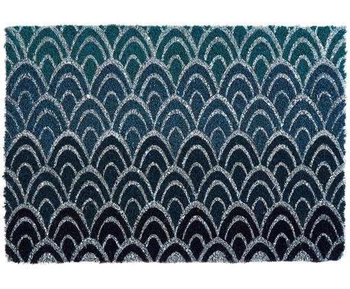 Fußmatte Peacock, Oberseite: Kokosfaser, Unterseite: PVC, Dunkelblau, Grau, 45 x 75 cm
