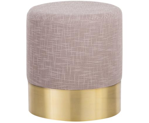 Puf z tweedu Harlow, Tapicerka: bawełna tweedowa, Brudny różowy, odcienie złotego, ∅ 38 x W 42 cm