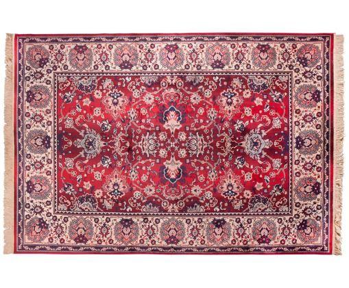 Vintage Teppich Bid mit Blumenmuster, Teppich: Rot- und BeigetöneFransen: Beige