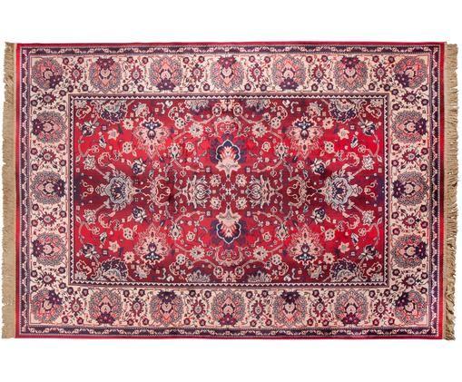 Dywan Bid, Dywan: czerwony i beżowy Frędzle: beżowy, S 170 x D 240 cm