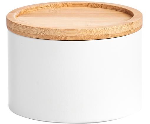 Metall-Aufbewahrungsdose Bambel, stapelbar, Dose: Metall, lackiert, Deckel: Bambus, Weiß, Ø 13 x H 10 cm