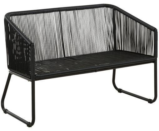 Bank Moa, Zitvlak: polyethyleen-vlechtwerk, Frame: gepoedercoat metaal, Zwart, 110 x 81 cm