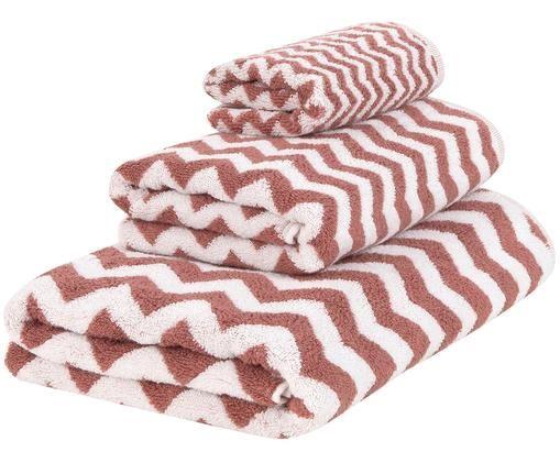 Set asciugamani Liv, 3 pz., 100% cotone, qualità media 550g/m², Terracotta, bianco crema, Diverse dimensioni