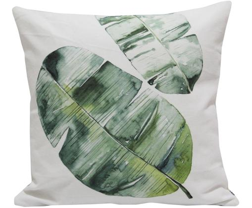 Federa arredo Tropik, Cotone, Bianco, tonalità verdi, Larg. 45 x Lung. 45 cm