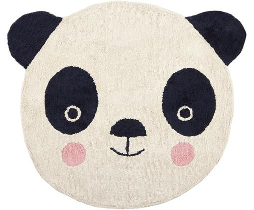 Alfombra de lana Panda, Parte superior: lana, Reverso: algodón, Negro, blanco crudo, rosa, An 120 x L 180 cm