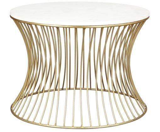 Runder Marmor-Couchtisch Blair, Tischplatte: Weiß-grauer MarmorGestell: Goldfarben