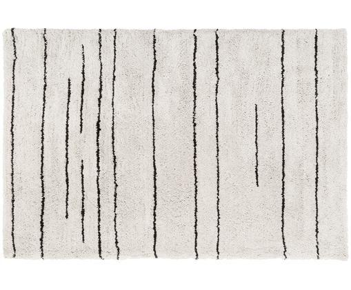 Alfombra artesanal Dunya, Parte superior: 100% poliéster, Reverso: 100% algodón, Beige, negro, An 200 x L 300 cm (Tamaño L)