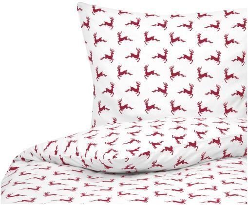 Flanell-Bettwäsche Rudolph mit Rentieren, Rot, Ecru