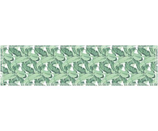 Passatoia in vinile riciclabile Mogli, Vinile riciclabile, Verde, bianco, Larg. 65 x Lung. 255 cm
