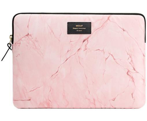 Laptophülle Pink Marble für MacBook Pro 13 Zoll, Außen: PinkInnen: SchwarzLabel: Schwarz, mit goldfarbener Schrift, 34 x 25 cm