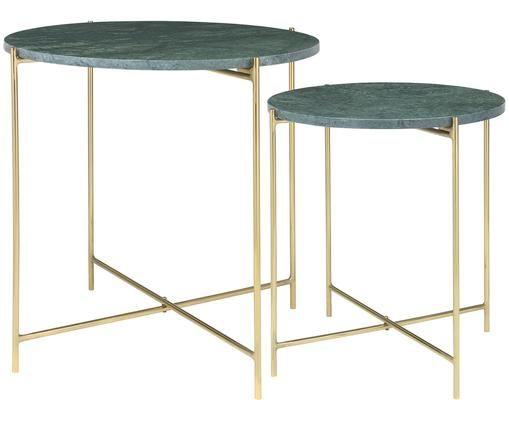 Komplet stolików pomocniczych z marmuru Freja, 2 elem., Zielony, marmurowy