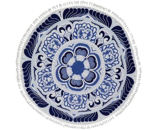Ręcznik plażowy Carouse, Niebieski, biały, Ø 150 cm