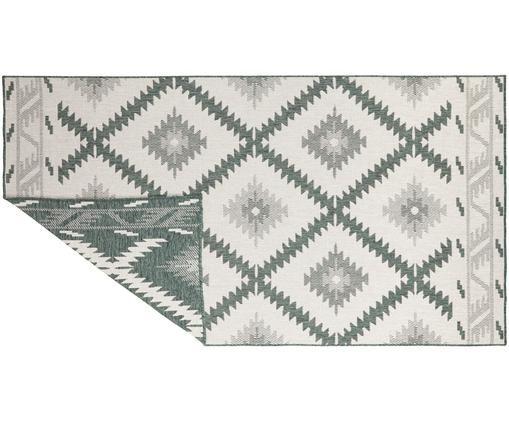 Dubbelzijdig in- & outdoor vloerkleed Malibu in ethno stijl, Groen, crèmekleurig, B 80 x L 150 cm (maat XS)