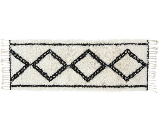 Handgetufteter Wollläufer Talana im Boho Style, Fransen: Baumwolle, Schwarz, Weiß, 80 x 200 cm