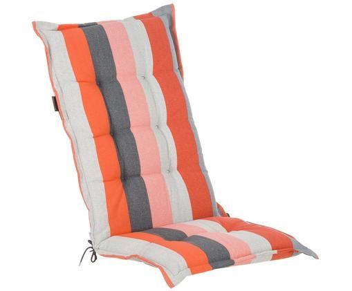 Nakładka na siedzisko z oparciem Victoria, Tapicerka: 75% bawełna, 25% polieste, Odcienie czerwonego, odcienie szarego, biały, S 50 x D 123 cm