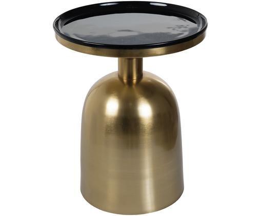 Emaille-Beistelltisch Ikon, Tischplatte: Metall, emailliert, Gestell: Metall, lackiert, Goldfarben, Schwarz, Ø 38 x H 46 cm