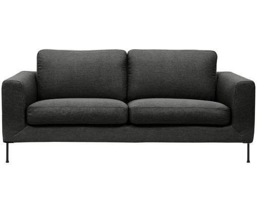 Sofa Cucita (3-Sitzer), Bezug: Webstoff (Polyester) 45.0, Gestell: Massives Kiefernholz, Füße: Metall, lackiert, Anthrazit, B 187 x T 94 cm