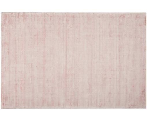 Tappeto in viscosa tessuto a mano Jane, Vello: 100% viscosa, Retro: 100% cotone, Rosa, Larg. 200 x Lung. 300 cm (taglia L)