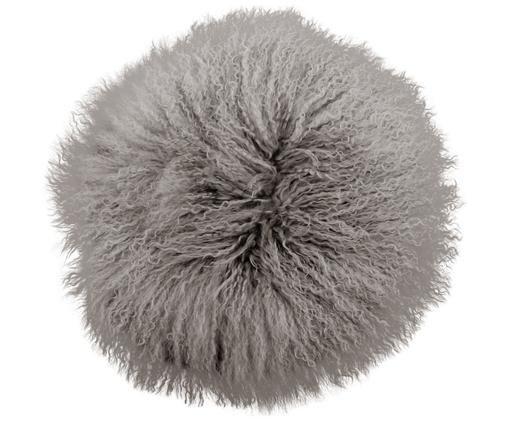 Cuscino sedia in pelliccia d'agnello a pelo lungo Ella, riccio, Grigio chiaro