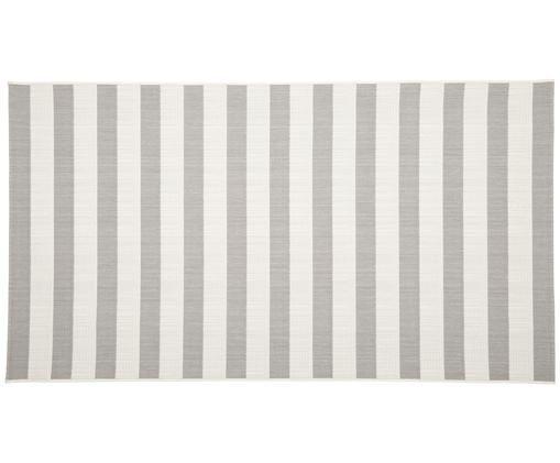 Gestreept in- & outdoor vloerkleed Axa, Bovenzijde: polypropyleen, Onderzijde: polyester, Crèmewit, grijs, B 80 x L 150 cm (maat XS)