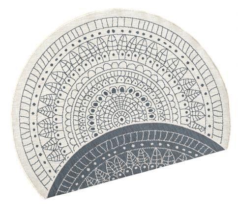 Tappeto reversibile da interno-esterno Porto, Grigio, color crema, Ø 200 cm