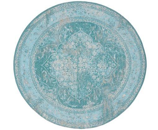 Federa arredo rotondo in ciniglia Lodge, Vello: 95% cotone, 5% poliestere, Retro: 100% cotone, Turchese, azzurro, crema, Ø 200 cm