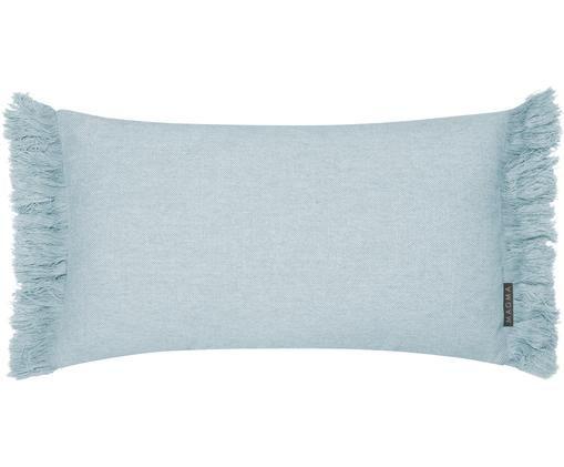 Federa arredo con frange Tine, Blu menta, Larg. 30 x Lung. 50 cm