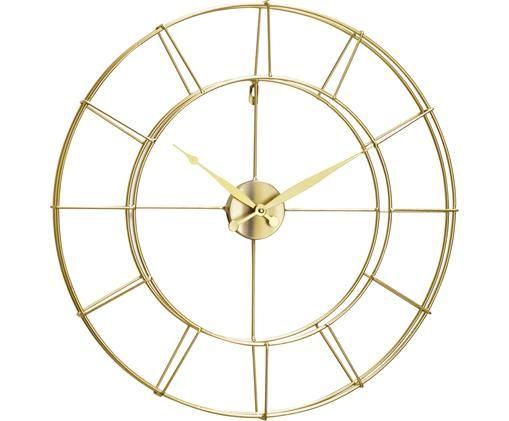 Zegar ścienny Alisha, Metal powlekany, Odcienie złotego, Ø 57 cm