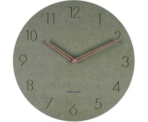 Horloge murale en bois Dura, Vert, couleur laitonnée