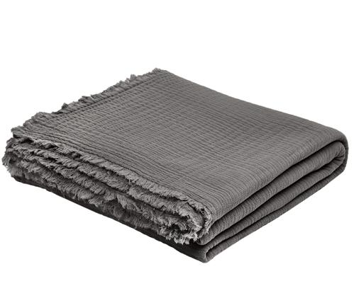 Tagesdecke Vanly aus weichem Baumwollmusselin, Baumwollmusselin, Dunkelgrau, 240 x 260 cm
