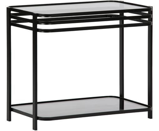 Piccola consolle nera Kylie, Struttura: metallo, verniciato, Ripiani: vetro temperato, Nero, trasparente, Larg. 51 x Prof. 36 cm