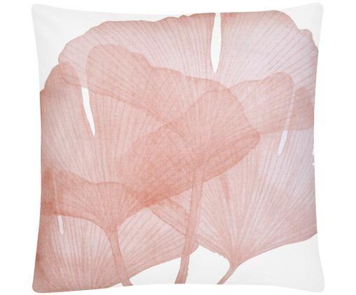 Federa arredo in bianco e rosa Ginko, Cotone, Bianco, rosa, Larg. 45 x Lung. 45 cm