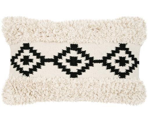 Funda de cojín Taima, estilo boho, Algodón, Crudo, negro, An 30 x L 50 cm