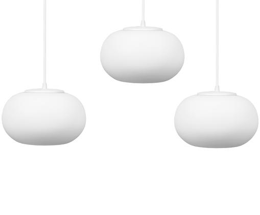 Suspension en verre opalescent Dosei Triple, Blanc