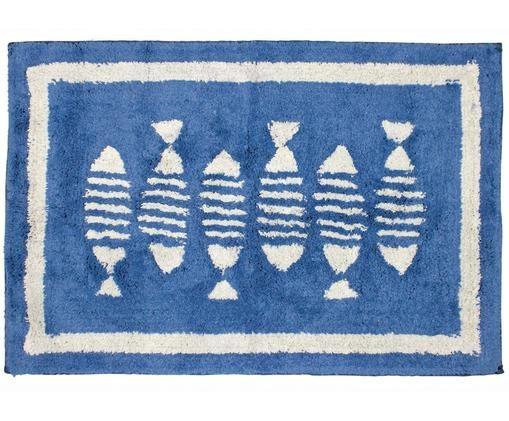 Badvorleger Summa, Baumwolle, Blau, Weiß, 60 x 90 cm