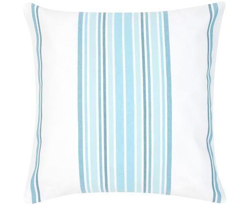 Federa arredo a strisce Lin, Cotone, Bianco crema, blu, Larg. 50 x Lung. 50 cm