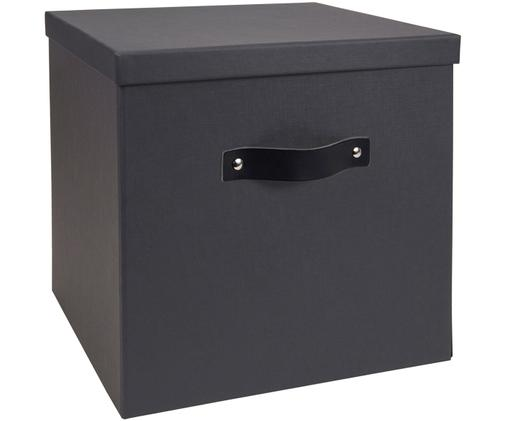 Scatola custodia Texas, Scatola: solido, cartone laminato, Manico: pelle, Grigio scuro, Larg. 32 x Alt. 32 cm